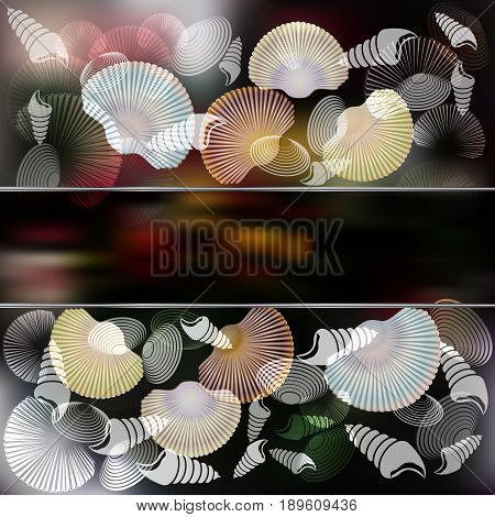 Set of Cockleshell with stylish composition and dark Background. Place for text. Vector illustration
