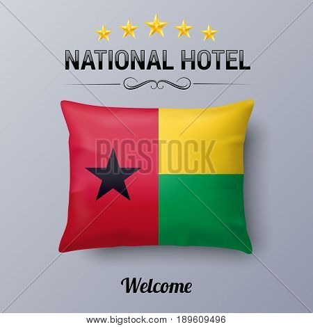 Realistic Pillow and Flag of Guinea-Bissau as Symbol National Hotel. Flag Pillow Cover with flag colors