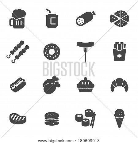 Vector black fastfood icons set on white background