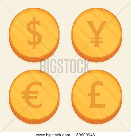 Flat Coin vector set isolated on color background