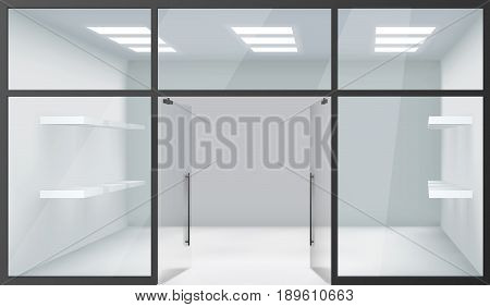 Shop Empty Interior Front Store Realistic Windows Space Open Doors Shelves Template Mockup Background Vector Illustration