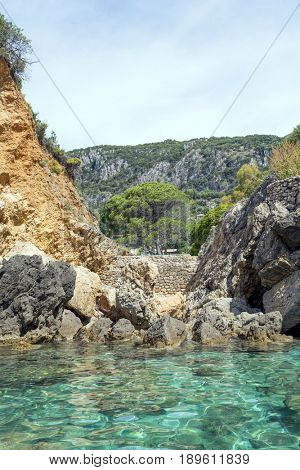View of the Ionian Sea coast in Paleokastritsa resort. Corfu Island, Greece
