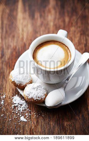 Cup of Espresso Macchiato with Biscotti