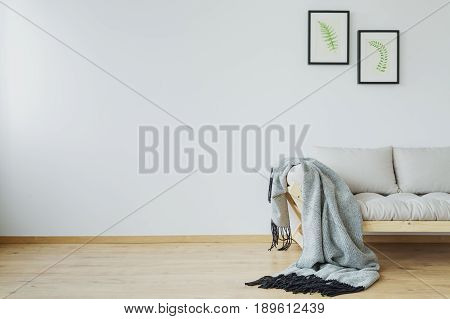 Monochromatic scandi cold and minimalist living room