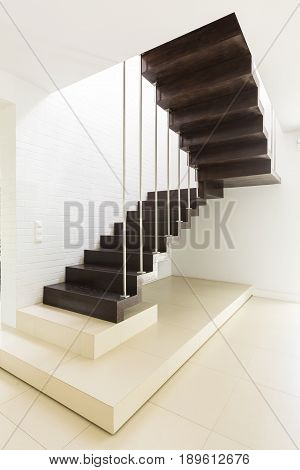 Bright minimalist hall with dark wooden stairs and white walls