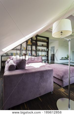 Elegant cozy room for relaxation with violet couch and bookstand