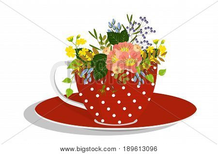 A bouquet of flowers in a red spotted cup, Isolated on white background, vector illustration