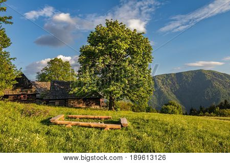 Historic Wooden Chalets On Mountain Meadow