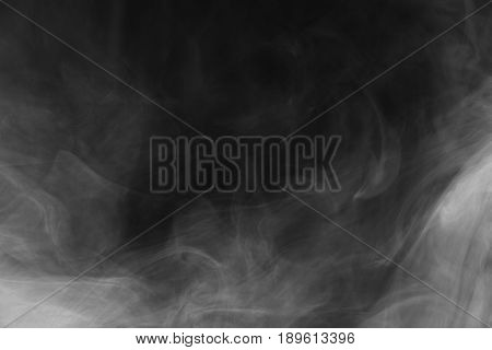 Beautiful Storm Cloud Isolated On Black Background. Smoke From Cigarettes. Vape.