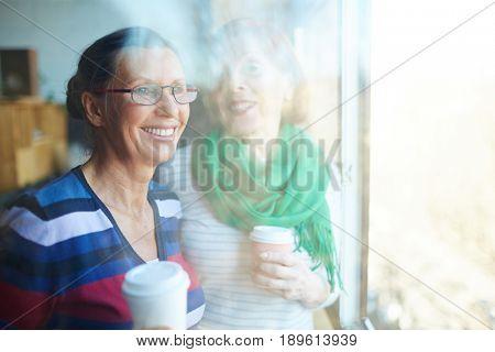 Happy senior buddies having coffee by window on sunny day