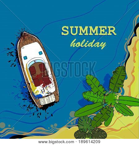 Vector illustration of top view of sea, ship and beach with sand, palms. Graphic postcard in flat lay style. Boat on the water for summer holiday.