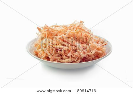 Dried squid on plate isolated.on white background.