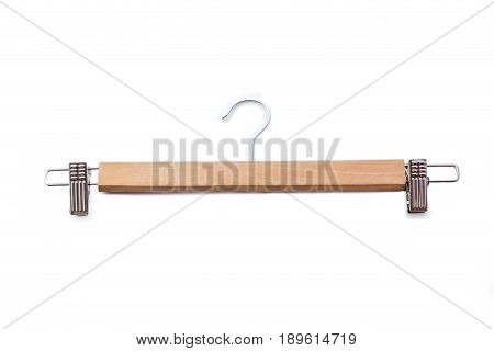 Wooden hanger isolated. hanger on white background.