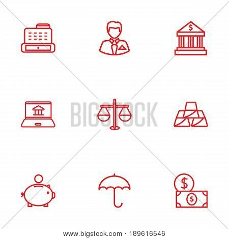 Set Of 9 Finance Outline Icons Set.Collection Of Businessman, Protect, Money Box And Other Elements.