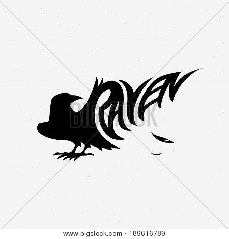 Vector illustration with raven silhouette. Design template for badge emblem logo insignia sign identity poster card cover brochure t-shirt prints etc.