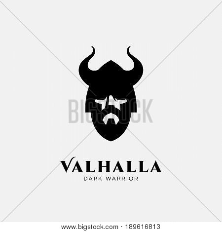 Logo design template with head of warrior in helmet. For team identity sport club logo mascot game icon security agency logo etc. Vector illustration.
