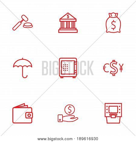 Set Of 9 Finance Outline Icons Set.Collection Of Auction, Protect, Safe And Other Elements.