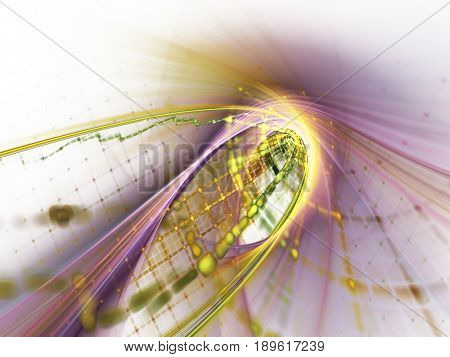Abstract background element. Grids and curves series. Fractal graphics. Composition of net shapes, curves, motion blur and waveforms.