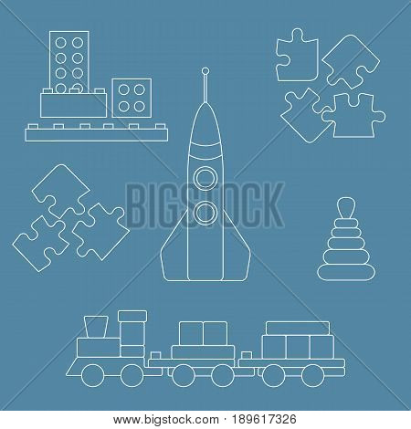 Vector Illustration Kids Toys Objects: Train, Puzzle, Rocket, Pyramid, Blocks.