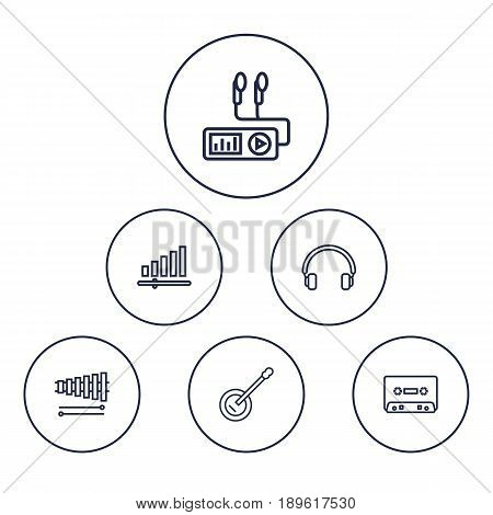 Set Of 6 Melody Outline Icons Set.Collection Of Audio Level, Wooden Block, Headphones And Other Elements.