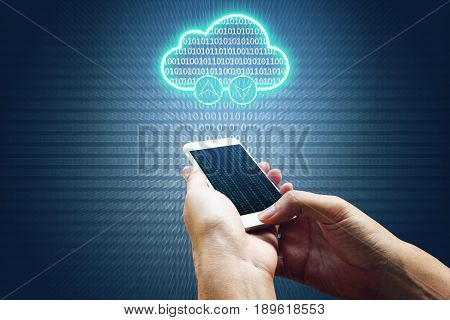 Cloud computing connectivity concept and hand man using smartphone network system and binary background.
