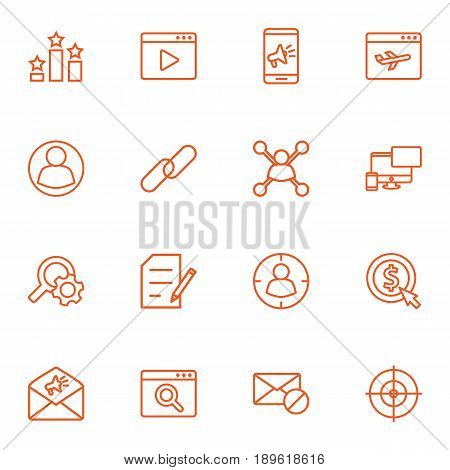 Set Of 16 Search Outline Icons Set.Collection Of Keywords, Style, Blogging And Other Elements.