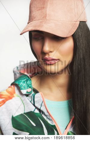 Glamour Girl In Stylish Urban Outfit Looking Away