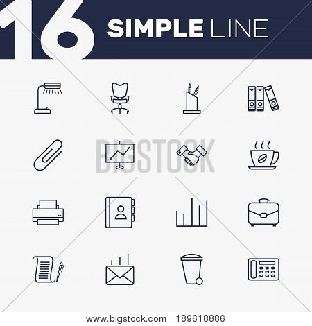 Set Of 16 Bureau Outline Icons Set.Collection Of Recycle Bin, Portfolio, Partnership And Other Elements.