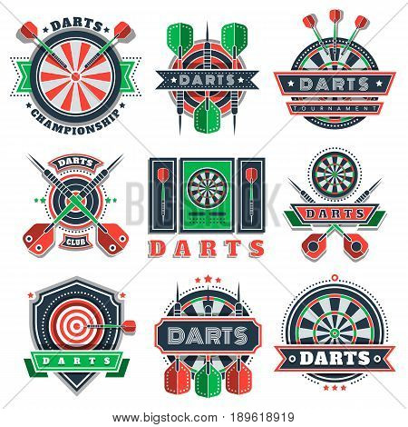 Darts sport tournament and championship logo, icons and badges. Dartboards, targets and arrows with wings decorated with ribbons, stars, dots. Design for darts sport and fan clubs.