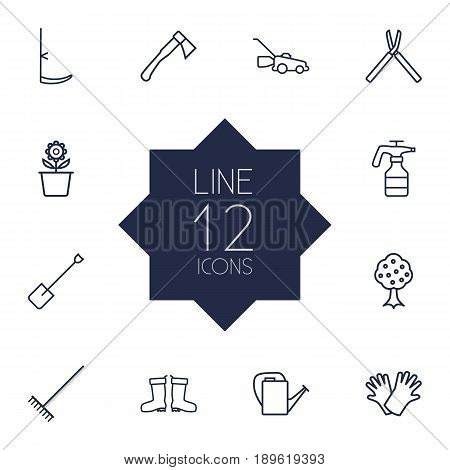 Set Of 12 Farm Outline Icons Set.Collection Of Shears, Grass-Cutter, Waterproof Shoes And Other Elements.