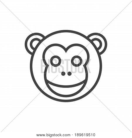 Isolted Ape Outline Symbol On Clean Background. Vector Monkey Element In Trendy Style.