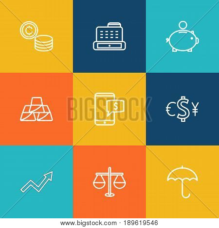 Set Of 9 Finance Outline Icons Set.Collection Of Exchange, Money Box, Coins And Other Elements.