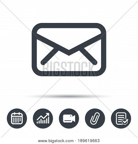Envelope icon. Send email message sign. Internet mailing symbol. Calendar, chart and checklist signs. Video camera and attach clip web icons. Vector