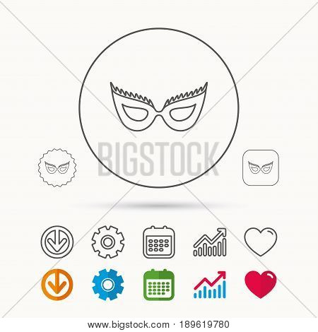 Festive mask icon. Masquerade carnival sign. Anonymous symbol. Calendar, Graph chart and Cogwheel signs. Download and Heart love linear web icons. Vector
