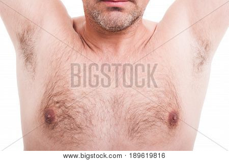 Man Hairy Underarms Or Armpits Isolated On White