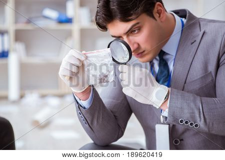 Young man during crime investigation in office