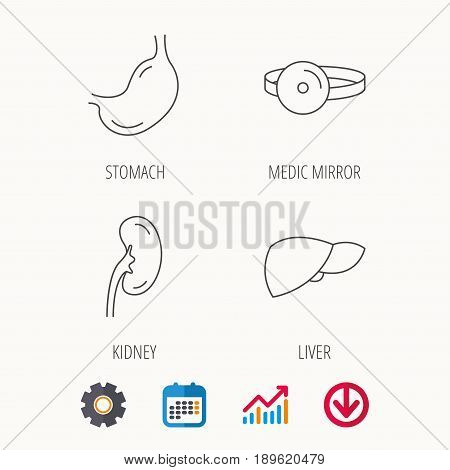 Kidney, liver and stomach organ icons. Medical mirror linear sign. Calendar, Graph chart and Cogwheel signs. Download colored web icon. Vector