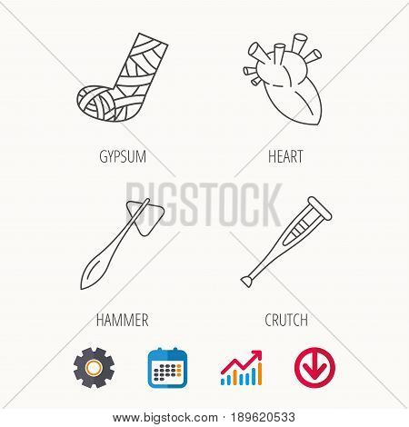 Gypsum, heart and medical hammer icons. Crutch linear sign. Calendar, Graph chart and Cogwheel signs. Download colored web icon. Vector