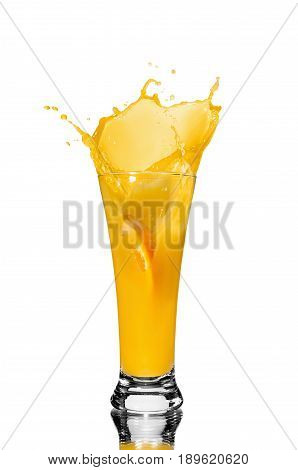orange juice in a glass slice of orange falling into juice spray juice mirror reflection isolated background