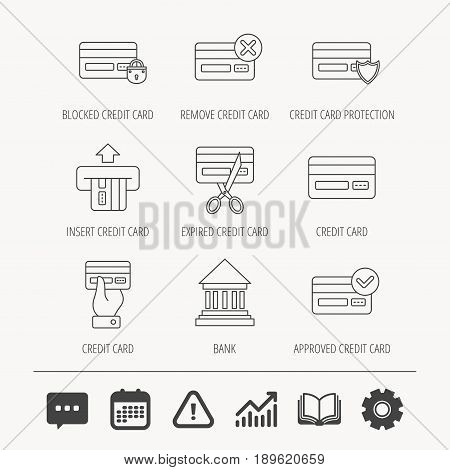 Bank credit card icons. Banking, blocked and expired debit card linear signs. Money transactions and shopping icons. Education book, Graph chart and Chat signs. Vector