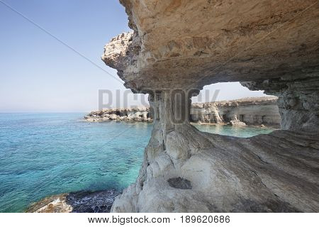 Sea Caves Of Cavo Greco Cape. Cyprus.