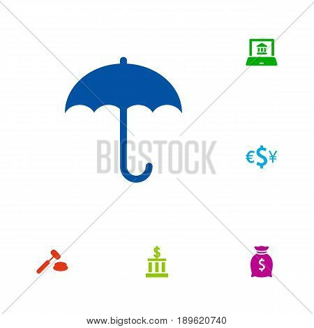 Set Of 6 Budget Icons Set.Collection Of Umbrella, Currency, Electron Report And Other Elements.