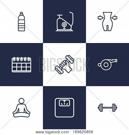 Set Of 9 Bodybuilding Outline Icons Set.Collection Of Calendar, Whistle, Water Bottle And Other Elements.