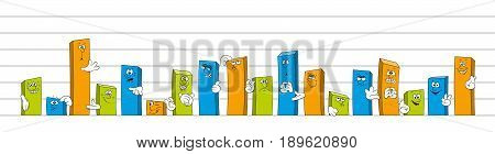 Bar chart with cartoon faces and hands panorama