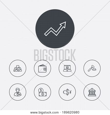 Set Of 9 Finance Outline Icons Set.Collection Of Auction, Exchange, Internet Banking And Other Elements.