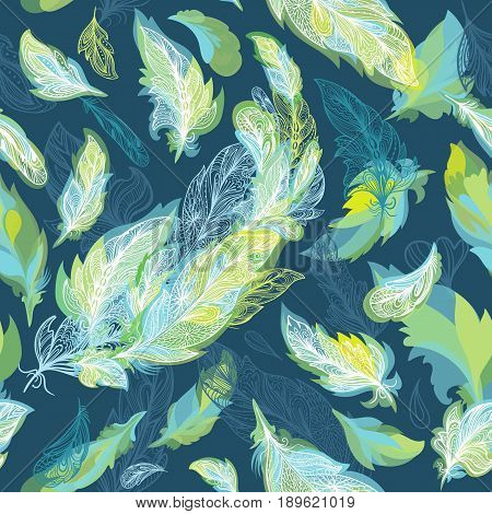 Elegant boho tribal ornamental texture in spring colors on turquoise background