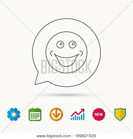 Smile icon. Positive happy face sign. Happiness and cheerful symbol. Calendar, Graph chart and Cogwheel signs. Download and Shield web icons. Vector