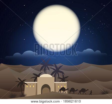 Caravan of camels in sahara. Caravanserai in arabian night desert under moon on sky. Vector illustration