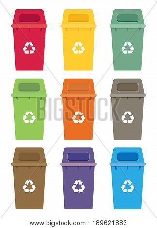 Waste Sorting Garbage Bin Set Vector. Waste Management And Recycle Concept With Waste Bin Set.