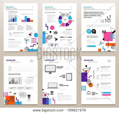 Presentation booklets - vector template a4 size pages with abstract flat design background. Make your presentation count. Infographics, charts. Modern outlook with different shapes. Copy space for your information.